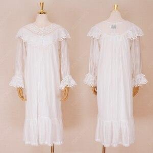 Image 5 - Womens Vintage Gothic Victorian Night Dress White Cotton Flare Sleeve V Neck Lace Embellished Ruffle Hem Autumn Nightgown T29