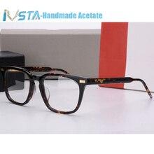 IVSTA Thom Gafas de acetato hechas a mano para hombre, lentes de acetato hechos a mano, Marcos ópticos recetados, gafas cuadradas de tortuga con Logo de marca de lujo