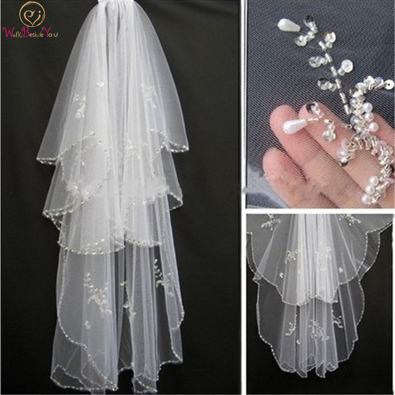 Walk Beside You Hot Sale Sparkle 2 Layers Beads Pearls White/Ivory Wedding Bridal Veil with Comb for Bridal Headwear Accessries