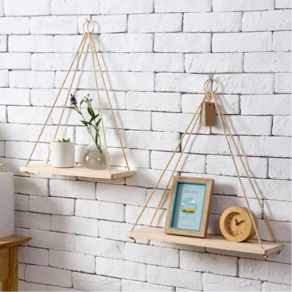 Solid Wood Shelf Nordic Rope Hanging Vintage Circular Solid Wood Shelving Storge Box Home Decor