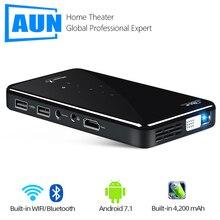 AUN proyector portátil X2 2G + 16G, MINI dispositivo con Control por voz, Android 7,1, 5G, WIFI, batería, proyector de vídeo 3D de bolsillo para cine en casa de 1080P