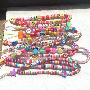 FL 2021 nowy kolorowy akrylowy koralik uśmiech łańcuszek do telefonu komórkowego telefon komórkowy pasek Anti-Lost smycz dla kobiet biżuteria letnia tanie i dobre opinie FFLACELL Brak CN (pochodzenie) Kobiety moda Na imprezę Akrylowe Śliczne Romantyczne Zgodna ze wszystkimi Poprawiające nastrój