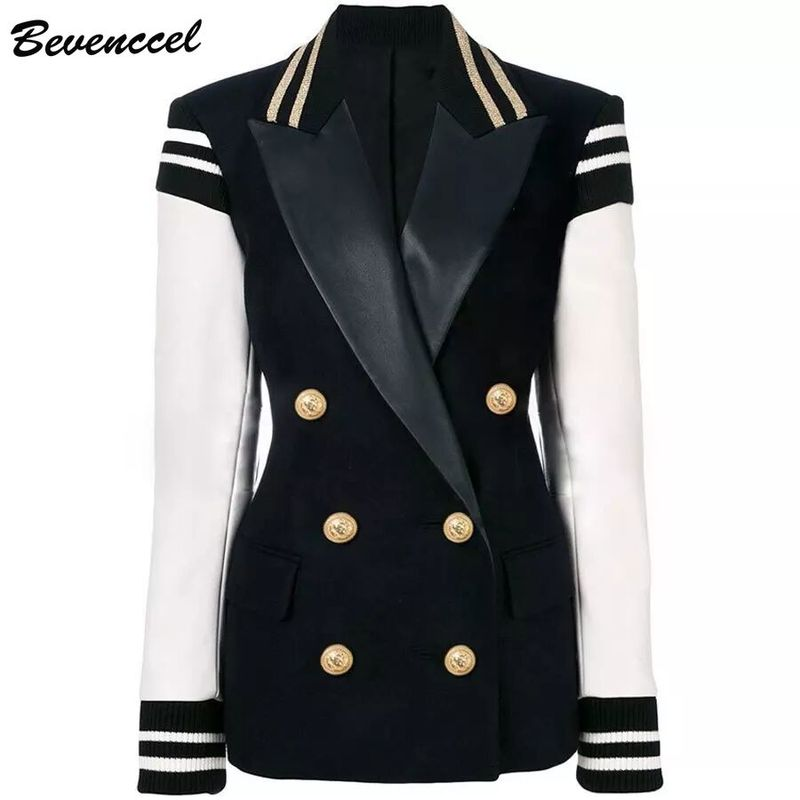 Bevenccel Newest 2019 Winter Autumn Designer Blazer Women's Leather  Patchwork  Double Breasted  Blazer Classic Varsity Jacket