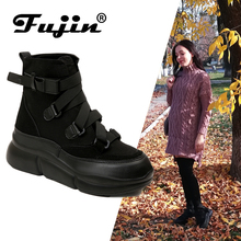 Fujin 2019 New Arrival Canvas Ankle Boots For Women Hook Loop Platform Fashion Punk Black Flat Shoes Winter