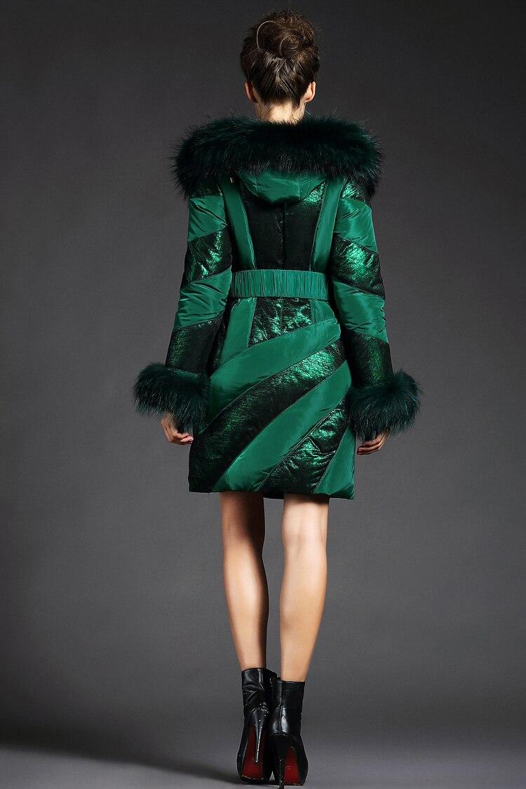 Winter Luxury Raccoon Fur Collar Jacket New Long Slim Belt Striped Ladies' Duck Down Jacket Plus Size 2XL LX1029