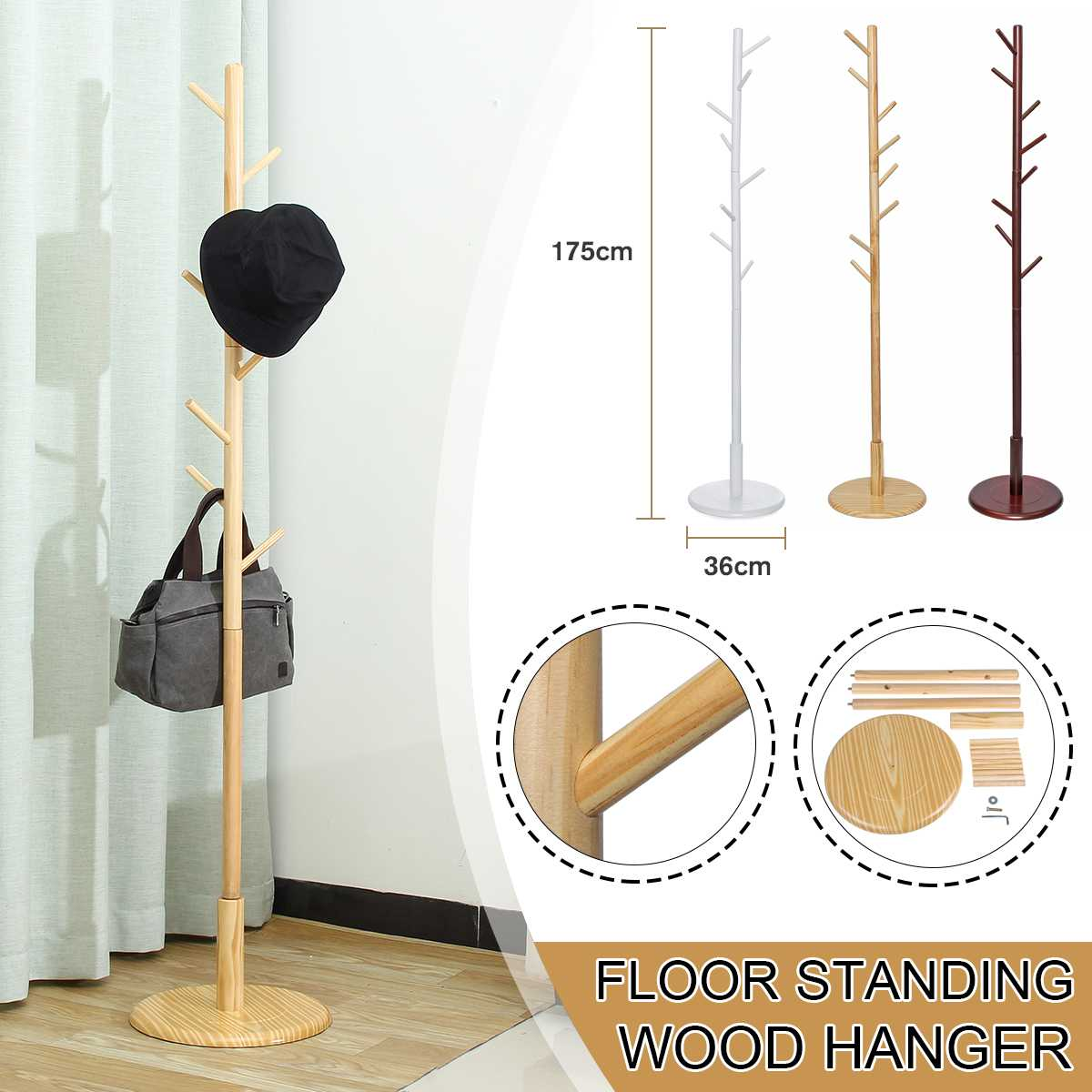 175cm Wood Clothes Hanger With Assembly 8 Hooks Collapsible Floor Standing Coat/Hat Racks Entrance Hall/Bedroom Clothes Rack