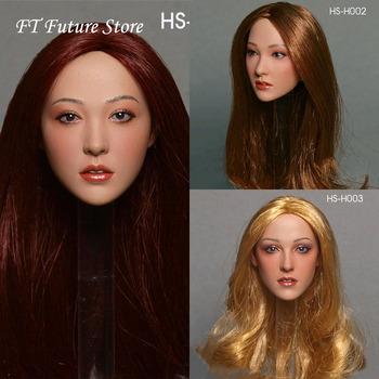 HS-H001/002/003 In Stock Asian Beauties Female Head Sculpt Carved Accessory Model Planted Hair for 12 inches Action Figure Body