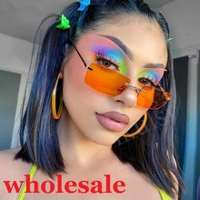 Bulk Wholesale popular Rectangle Sunglasses Women Orange Who