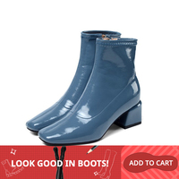 MLJUESE 2020 women ankle boots patent leather zippers blue color high heels boots autumn spring ankle boots party dress size 43