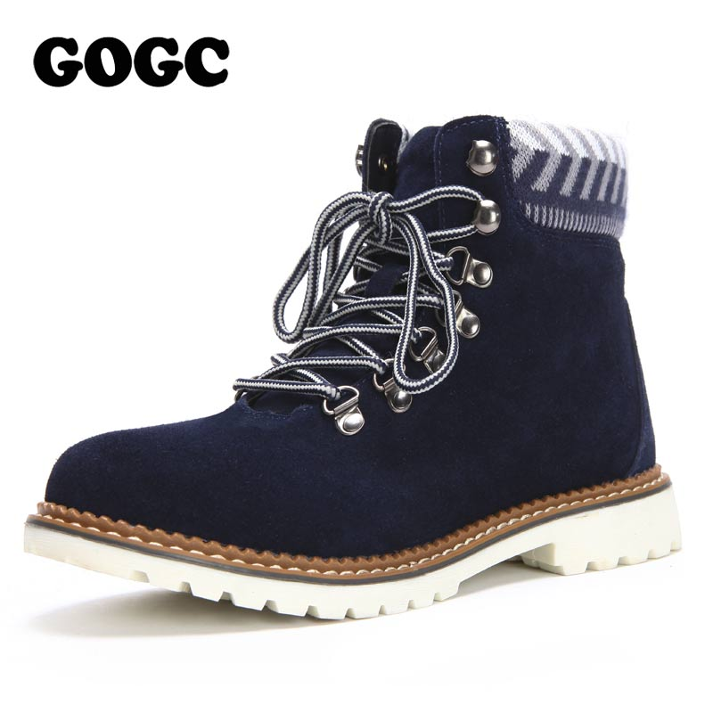 GOGC Genuine Leather <font><b>Ankle</b></font> <font><b>Boots</b></font> <font><b>for</b></font> <font><b>Women</b></font> <font><b>Winter</b></font> <font><b>Shoes</b></font> Warm Lace up Square Heel Snow <font><b>Boots</b></font> Waterproof <font><b>Winter</b></font> <font><b>Boots</b></font> <font><b>Women</b></font> 9827 image