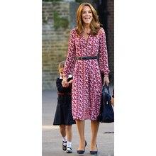 Princess Kate Middleton Dress 2020 Woman Dress V Neck Long Sleeve Printed Belt Elegant Shirt Dresses Work Wear Clothes NP0787C