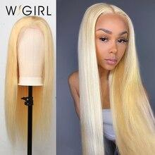 Wigirl 브라질 스트레이트 레미 150% 밀도 금발 레이스 전면 인간의 머리가 발 13x4 투명 613 금발의 가발 흑인 여성을위한