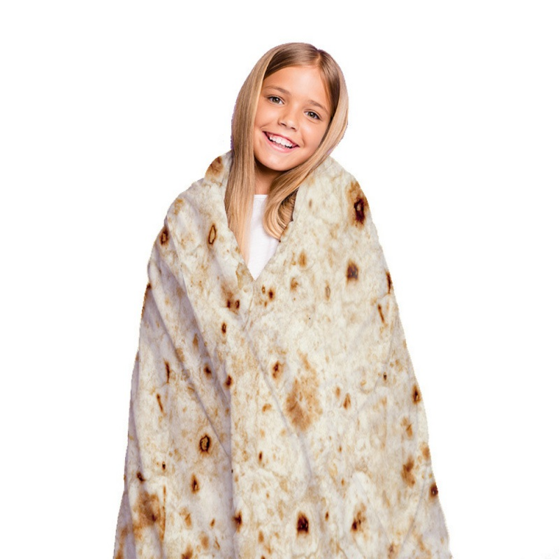 Realistic Food Taco Burrito Tortilla Blanket Soft Flannel Wrap Novelty Throw Blanket for Adults Babies and Children Round image