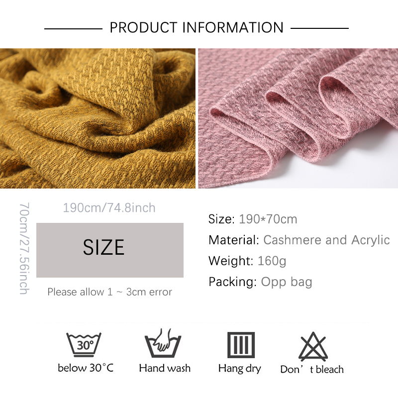 2020 Winter Scarf Women Solid Cashmere Knitted Pashmina Thick Shawls Lady Wraps Female Warm Foulard Neck Scarves Tow Side