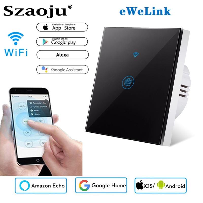 Szaoju EU Wall Touch Switch Smart Light Switch 1 Gang 1 Way Smart Home Support Alexa Google Home Assistant IFTTT For Android