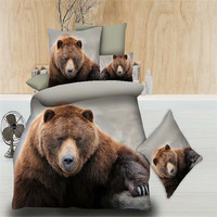 cheap 3d bear bedding set double bed queen twin size bed linen set