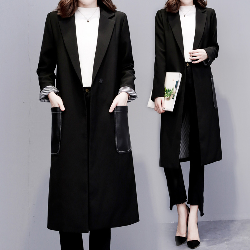 Korean Casual Suit Women 2020 Spring New Straight Long Sleeve Mid-length Black Slim Plus Size Coat Tide Blazer Femme Jacket F266