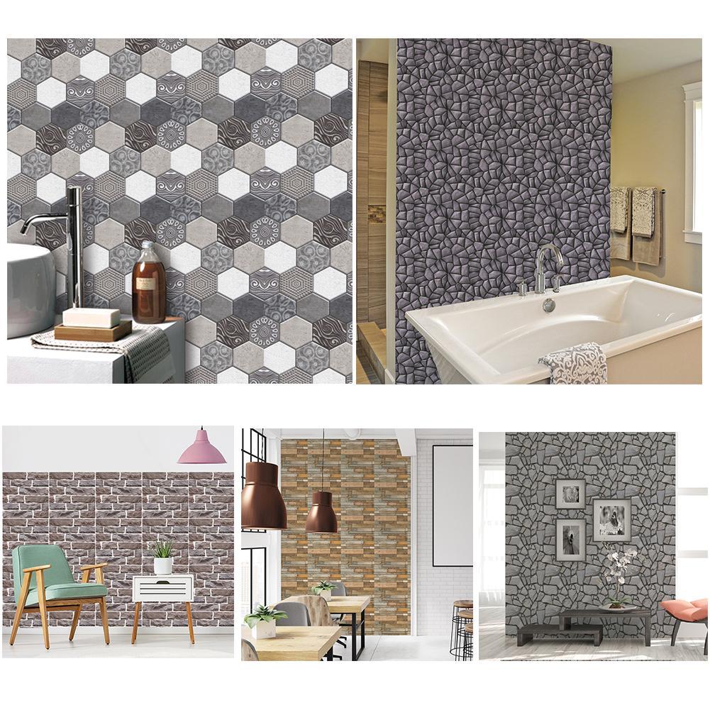3D Vintage Brick Wood Stone Hexagon Waterproof Bathroom Kitchen Wall Stickers Self Adhesive Backsplash Tiles Brick Decoration