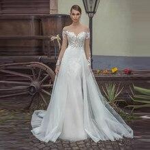 Verngo Mermaid Wedding Dress Lace Appliques Gowns Elegant Bride Long Sleeve Boho Detachable Train
