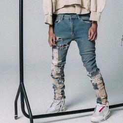 Washed Blue Slim Lace Jeans Deconstructed Patchwork Jogger Men Streetwear