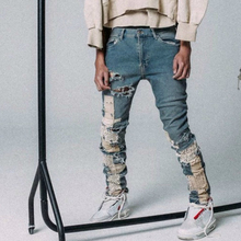 Washed Blue Slim Lace Jeans Deconstructed Patchwork Jogger M