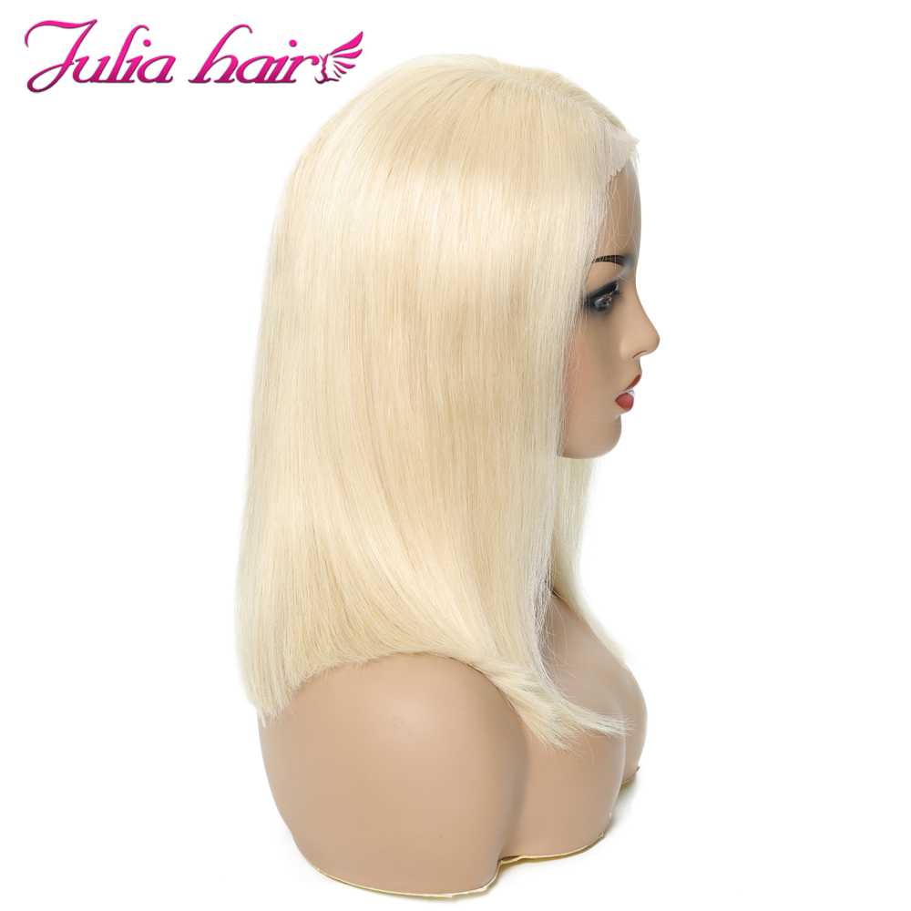 Blonde Bob Lace Front Human Hair Wigs Straight Brazilian Remy 613 Yellow Pink Green 13x4 Lace Front Short Bob Wig Pre Plucked (19)