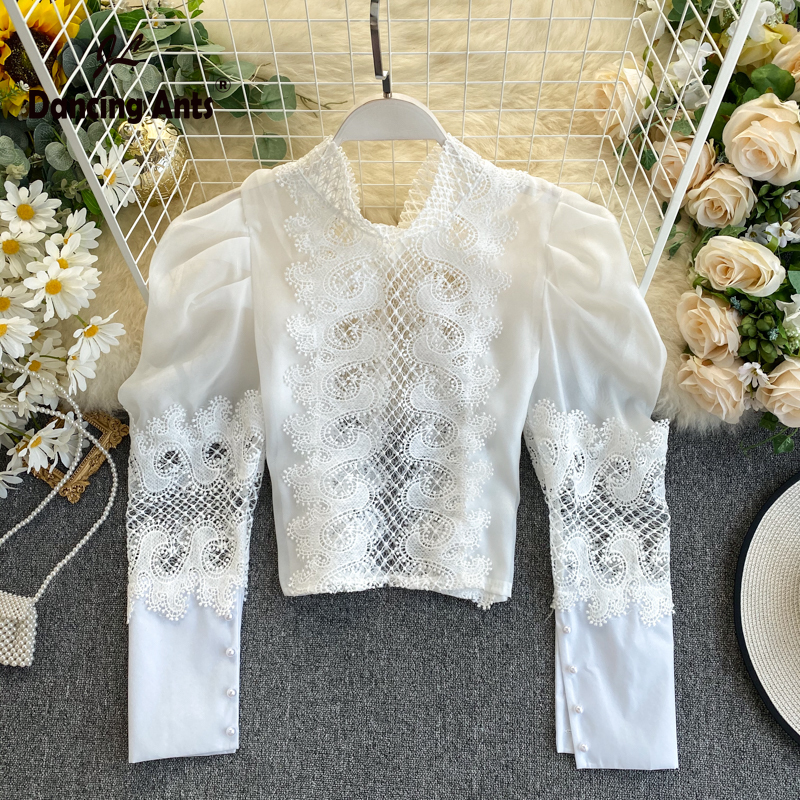 Woman Shirts Long Batwing Sleeve Bow Collar Shirt Vintage French Style Lace Solid Patchwork Shirts Sexy Hollow Out Short Shirt
