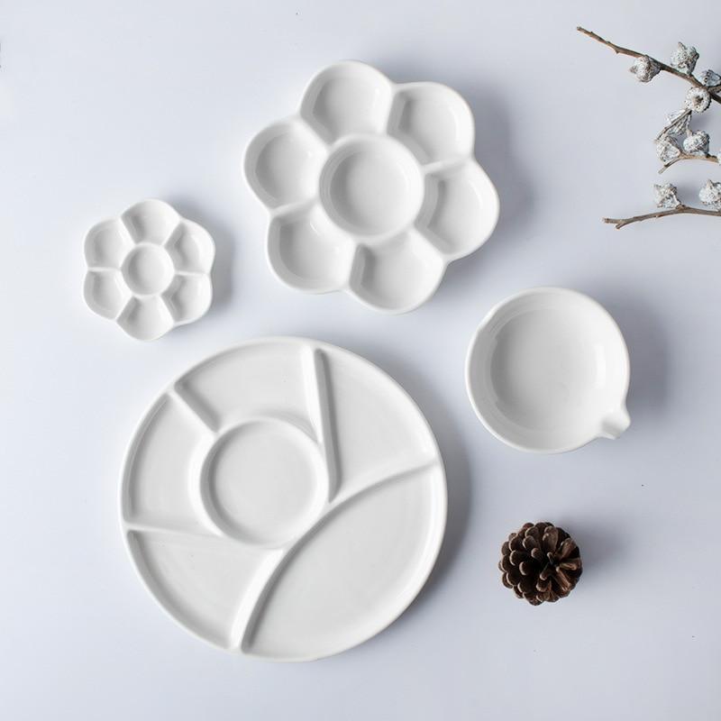 1 Piece Simple Ceramic Multi-grid Palette Watercolor Painting White Porcelain Color Palette Art Supplies