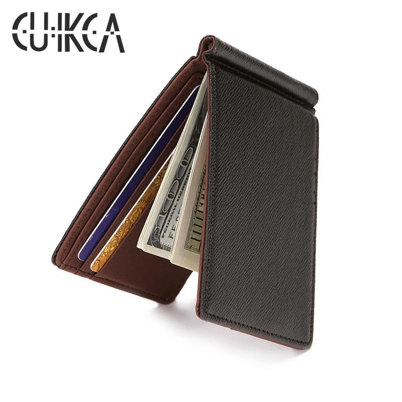 CUIKCA South Korea Style Fashion Men Wallet Purse Money Clips Mini Leather Wallet Ultrathin Slim Wallet ID Credit Card Cases