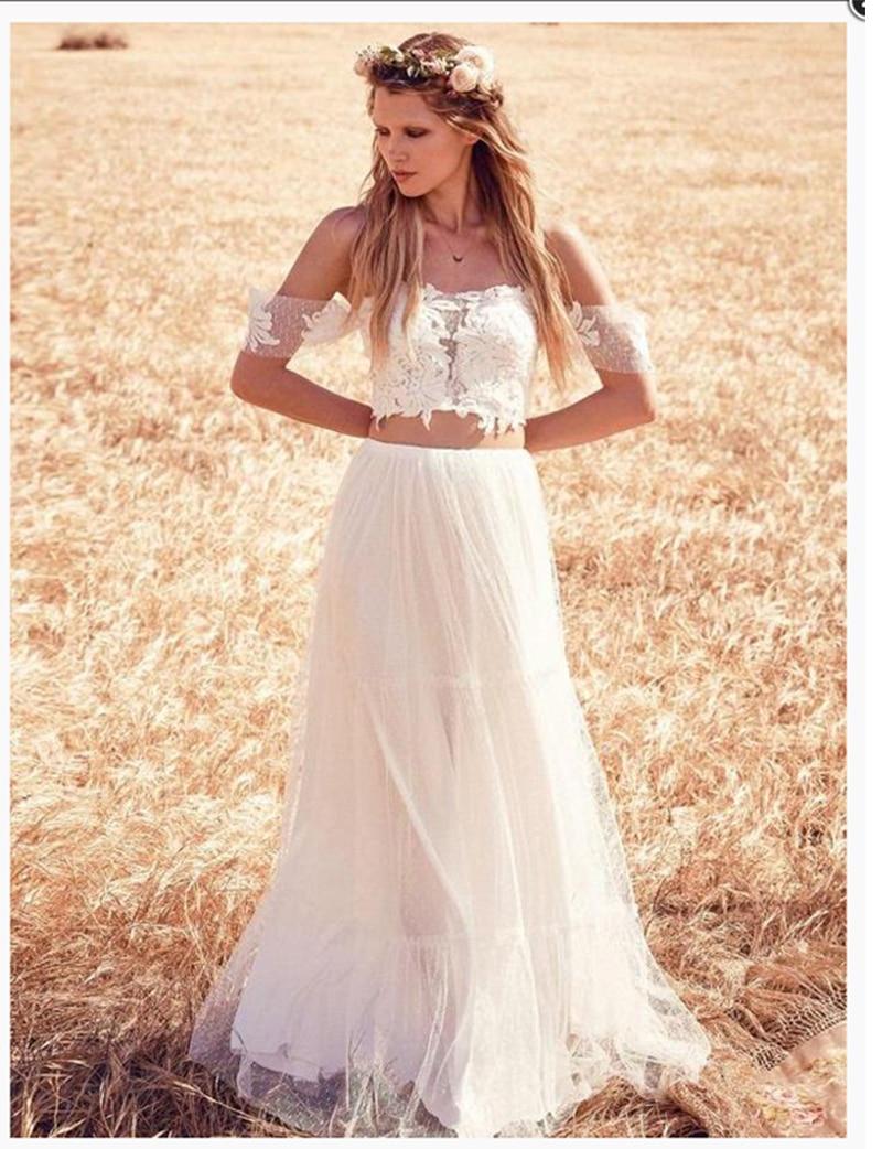 Lace Beach Wedding Dress 2 Pieces Off The Shoulder Elegant Wedding Gowns  Simple Elegant Bridal Gown