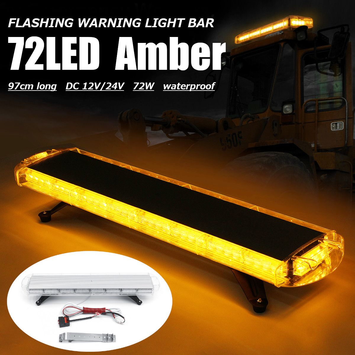 DOUBLE SIDE 72W LED WORK LIGHT BAR BEACON RECOVERY WARNING STROBE LIGHTS AMBER