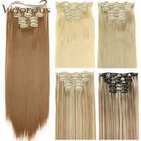 Kräftige Braun Lange Gerade 16 Clips in Haar Verlängerung 22 zoll Synthetische Wärme Beständig Haar für Frauen