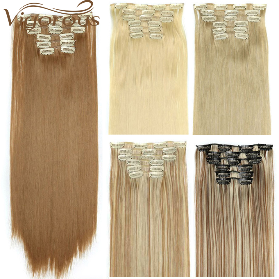 Vigorous 16 Clips 6Pcs/Set Hair Extensions Long Straight  22inches Brown Synthetic Hairpiece Heat Resistant Hair For Women