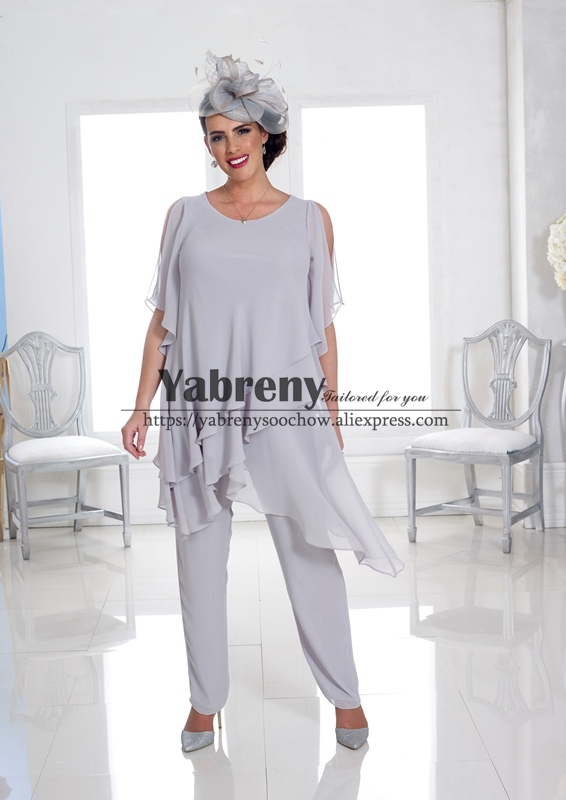 Plus Size Silver Gray Mother Of The Bride Chiffon Pants Suit 2PC Trousers Set