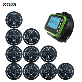 Personal Wireless Pager Waiter Call System with Call Bill Drink Cancel 1 pc watch 10 pcs button