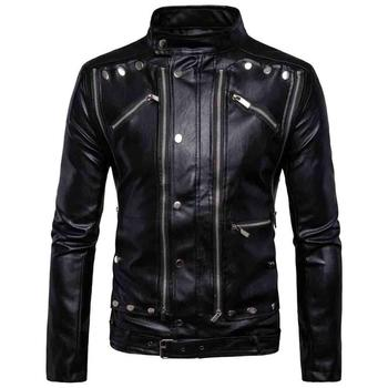 high quality 2020 autumn winter Punk hip hop slim European code men's motorcycle multi-zip men leather coat leather jacket B01