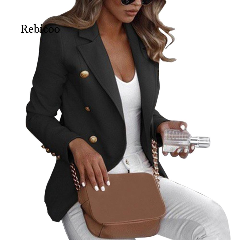 2019 Explosion Models Autumn Hot Long-sleeved Double-breasted Solid Color Collar Small Suit
