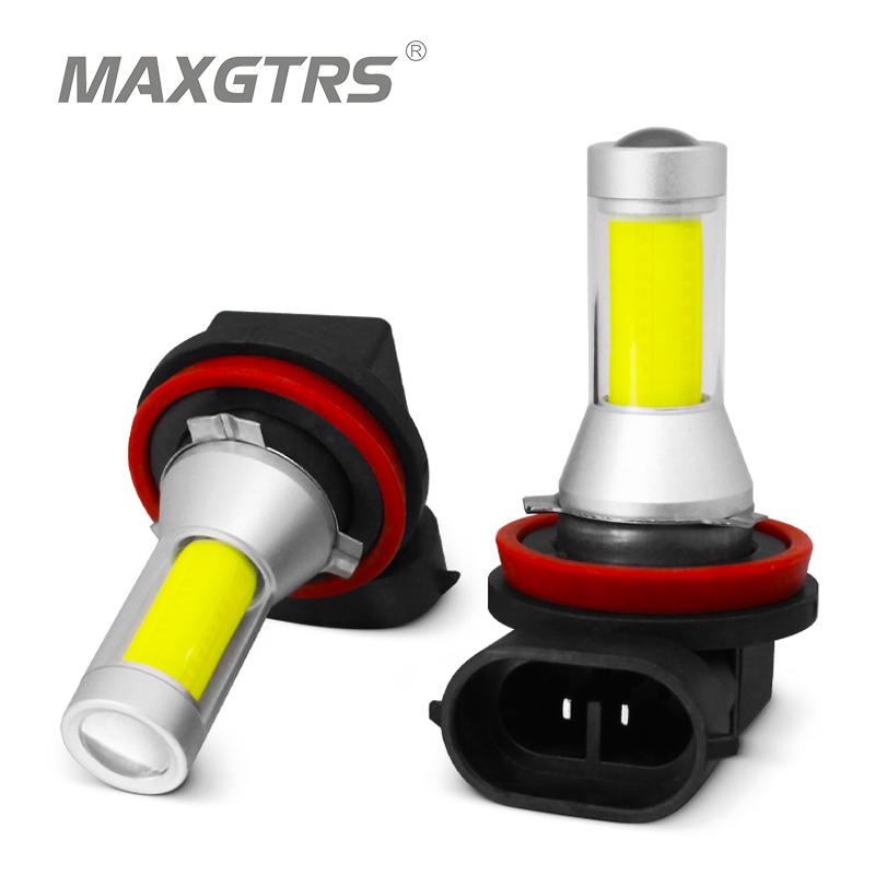 2x Car Fog Bulb H7 H8 H11 9005 9006 HB3 HB4 H16 H10 PSX24W <font><b>COB</b></font> <font><b>LED</b></font> Chips Lamp <font><b>LED</b></font> Daytime Runing Light DRL White Gold Ice Blue image