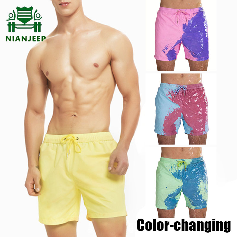Men's Color-changing Beach Shorts Quick Dry Swimming Swimsuit Swim Trunks Hawaii Pant Men Discoloration Sea Surfing Board Shorts