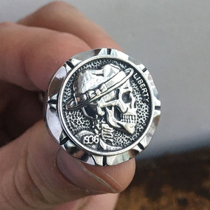 EYHIMD Hobo Nickel Brave Skull Rings Mens Mexican Indian Biker Style Coin Silver Stainless Steel Ring Gift for Him(China)