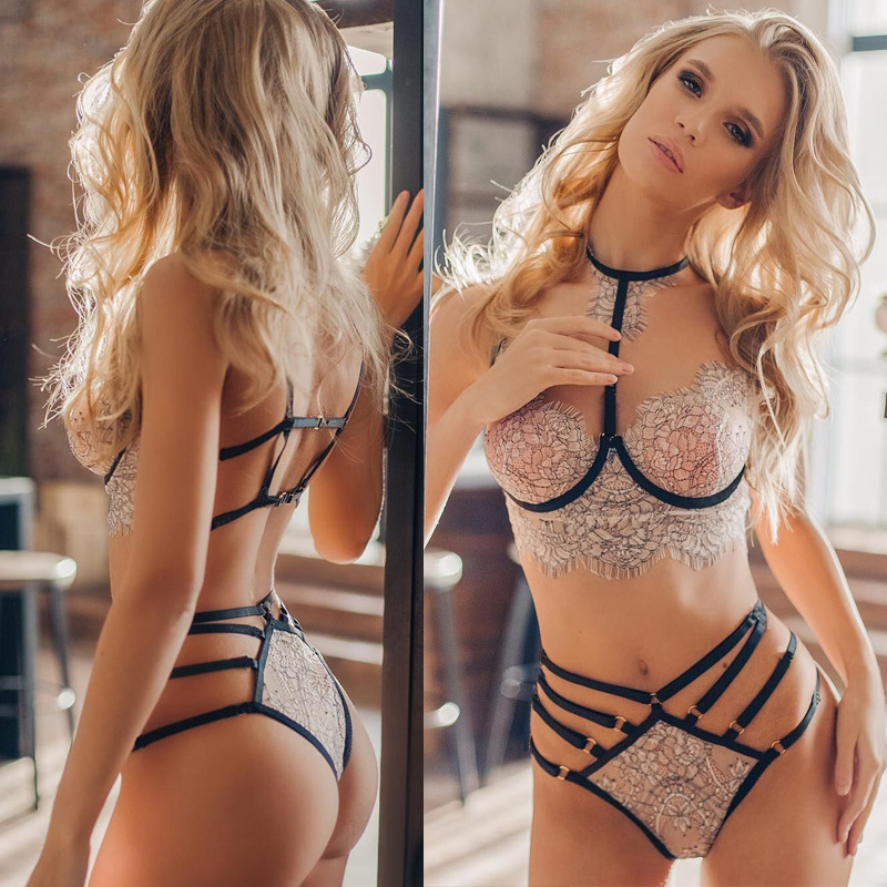 Lingerie Women Sexy Lace Embroidery Lingerie Set Halter Bra Hollow Thong Set Lingerie Sleepwear Bra Set
