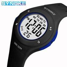 SYNOKE Children LCD Electronic Digital Watch Sport Watches Stop Watch Luminous 5Bar Waterproof Kids Wristwatches For Boys Girls