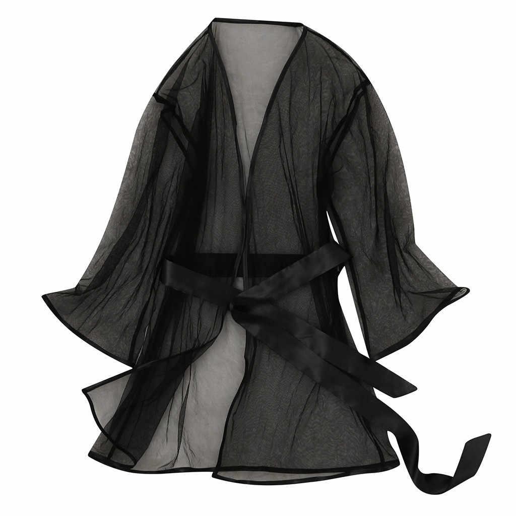 סקסי תחרה תחתוני נשים ארוטיים חמה רשת שקוף סקסי הלבשה תחתונה Babydoll חלוק Lenceria פורנו Mujer בתוספת גודל Langerie 3XL