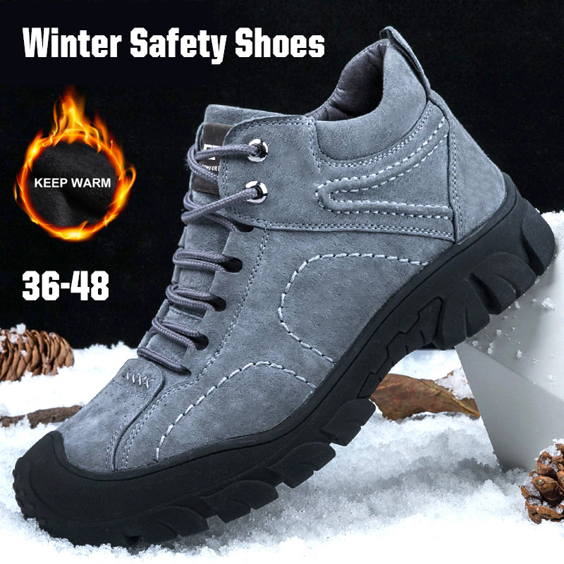 New Winter Indestructible Shoes Men Working Boots Safety Shoes Steel Toe Snow Boots Warm Fur Waterproof Outdoor Ankle Boot Footwear