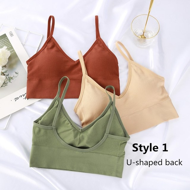 Women Tank Crop Top Seamless Underwear Female Crop Tops Sexy Lingerie Intimates Fashion With Removable Padded Camisole 1/2Pcs 4