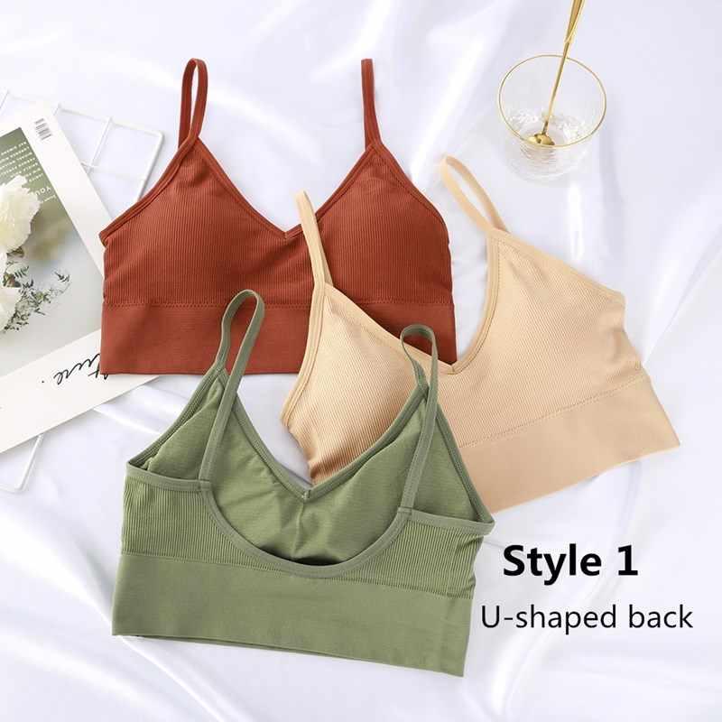 ผู้หญิงTank Crop Top Seamlessชุดชั้นในหญิงCrop Topsชุดชั้นในเซ็กซี่Intimatesแบบถอดได้เบาะCamisoleแฟชั่นFemme