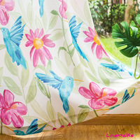 Hummingbird Nordic Shade Curtain Fabric Thickened Velvet Linen Cotton Linen Printed Fabric Factory Direct Wholesale