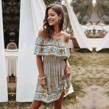 Print Dress The-Shoulder Knee-Length Sexy Women Ladies Summer Floral Slash Neck Temperament
