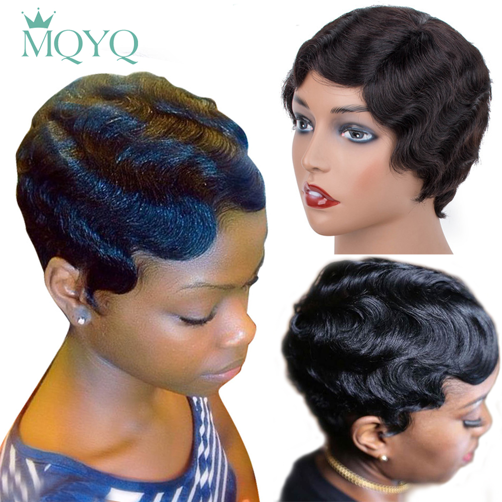MQYQ Short Finger Wave Wigs Short Ocean Wave Bob Wigs For Woman Short Deep Wave Wig Brazilian Non Remy Short Human Hair Wigs