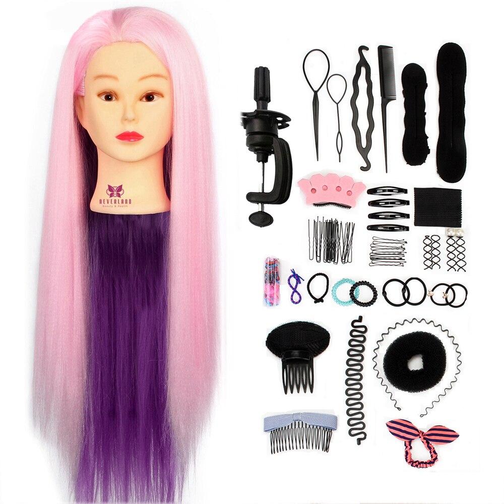 24 ''cheveux coiffure tête Mannequin formation tête cheveux tressage coiffures de poupée factice perruque tête + tressage outils